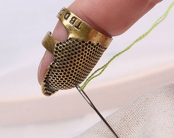 Sewing Thimble Finger Protector, Retro Handwork Sewing Thimble, Embroidery Needlework Gadget, Brass Sewing Thimble, Sewing Tools Accessories