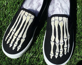 Hand Painted Skeleton Bone Feet Slip On Canvas Shoes!! Available in infant/Toddler/Kids sizes!!