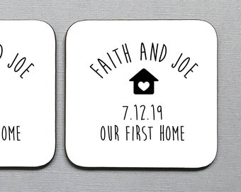 Personalised Coasters Gift Housewarming First Home