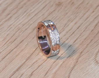 bba9fd2df7 14K Solid Gold and Real Natural Diamond Cartier inspired Love Ring style