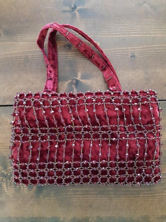 Red Beaded Bag/Vintage Beaded Bag/Velvet Beaded Ba