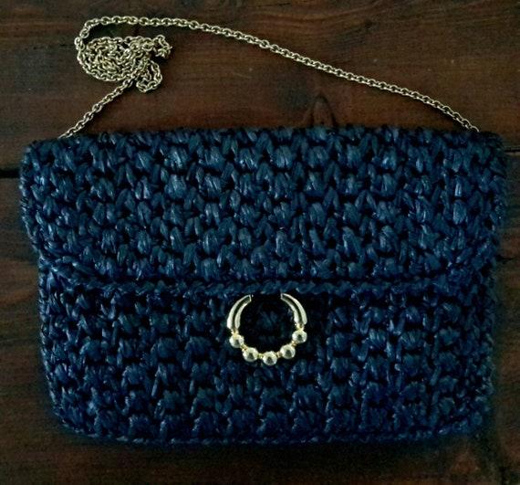 Vintage RODO Wicker Handbag/Navy Wicker Handbag/It