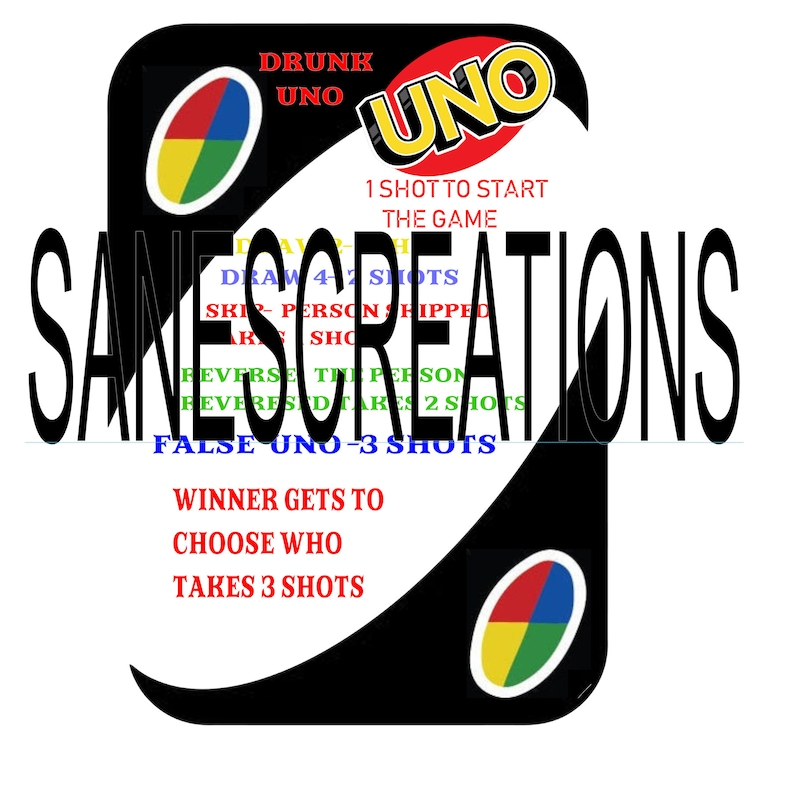 Drunk Uno Rules Card Digital Download Etsy