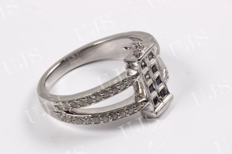 925 Sterling Silver Tabular Design Ring,Blue and White Princess Cut CZ Studded Ring,Studded Thick Shank,Unique Ring,Wedding Gift.