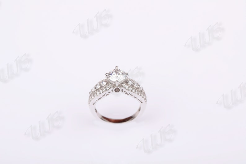 CZ Engagement Ring Round Cut,Gift For Her,Studded Ring 1.02 Solitaire Engagement Ring with Side Stones