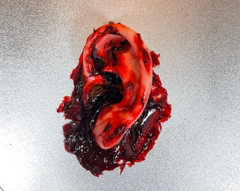 Bloody severed ear. Great for Halloween decoration, haunted house prop or horror prop