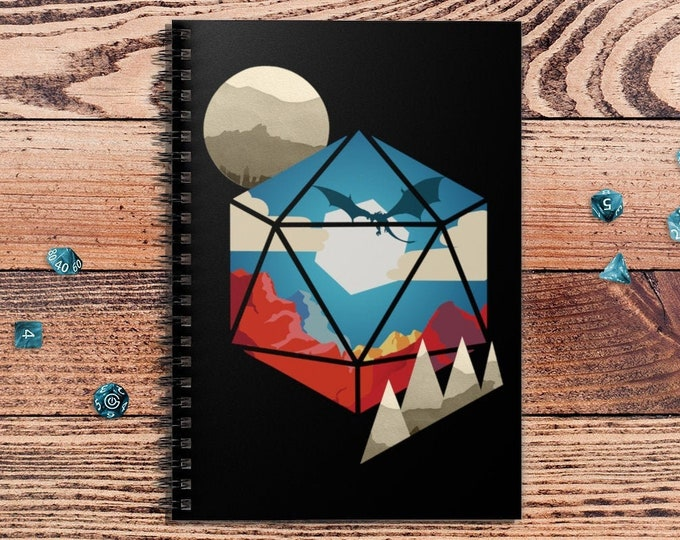 D20 World DnD Notebook Spiral | Gift for DnD players | Dungeons and Dragons | DM Gift | Book | Notepad