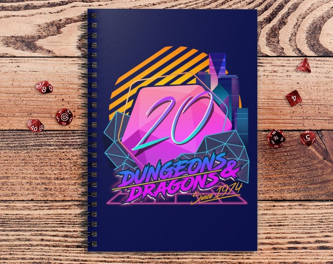 Retro D20 spiralbook | Retro | gifts for dnd | Dungeon master (dm) gifts | Geeky dnd