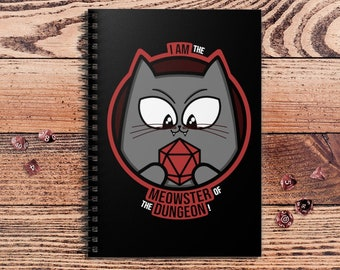 Meowster of the Dungeon Notebook | DM Gift | Dungeons and Dragons | DnD | | Dungeon Master gift