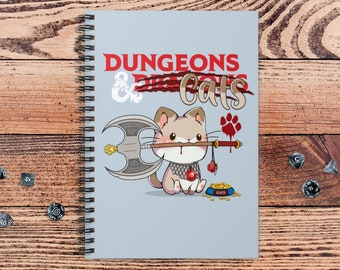 Dungeons and Cats DnD Notebook Spiral | Gift for DnD players | Dungeons and Dragons | DM Gift | Book | Notepad