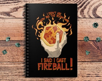 I Cast Fireball DnD Notebook Spiral | Gift for DnD players | Dungeons and Dragons | DM Gift | Book | Notepad
