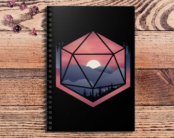 Mountain D20 DnD Notebook Spiral | Gift for DnD players | Dungeons and Dragons | DM Gift | Book | Notepad