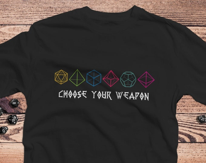 Choose your Weapon DnD Shirt | Dungeons Dragons | Gifts for dm | Dungeon master (dm) gifts | minimal dnd shirt