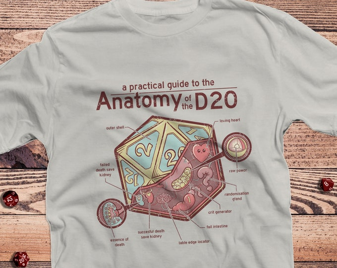 Featured listing image: Anatomy of a D20 D&D Shirt | DnD | Dungeons Dragons | Gifts for dm | Dungeon master (dm) gifts | minimal dnd shirt