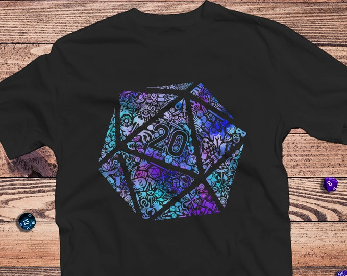 Colorful Mosaic D20 shirt | adventure | gifts for dnd | Dungeon master (dm) gifts | Geeky dnd
