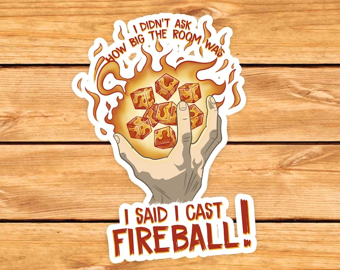 I cast Fireball D20 DnD Sticker | Dnd gift | GM | Dungeons & Dragons | Dice | Natural 20