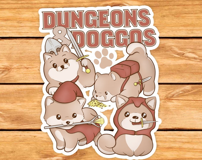 Dungeons and Doggos DnD Sticker | Dnd gift | GM | Dungeons & Dragons | Dice | Natural 20