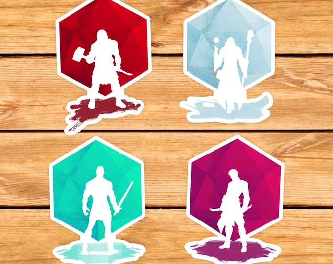 Minimal DND Class Stickers | Dnd gift | DM | Dungeons & Dragons | Dice | Natural 20