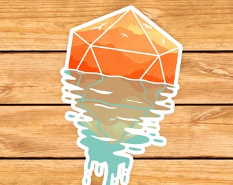 A D20 Sunset DnD Sticker | Dnd gift | GM | Dungeons & Dragons | Dice | Natural 20