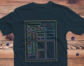 Character Sheet dnd Shirt   Dungeons & Dragons    Gifts for geeks   Dungeon master (dm) gifts   Geeky dnd shirt   dnd gifts