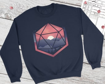 Mountain D20 Dnd Sweatshirt | DnD | Dungeons and Dragons | DM Gift | Gift for geeks
