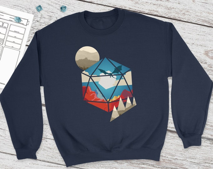 D20 World Dnd Sweatshirt | DnD | Dungeons and Dragons | DM Gift | Gift for geeks