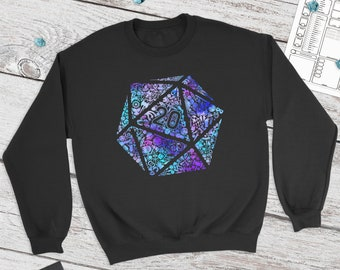 Colorful Mosaic D20 sweatshirt | adventure | DnD gift | Dice | Critical failure | Dungeons & Dragons