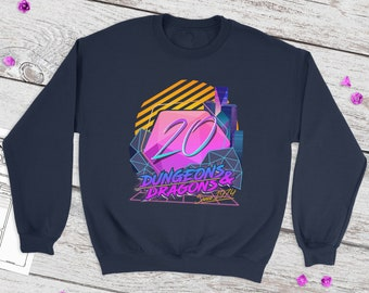 Retro D20 sweatshirt | Retro | Dnd gift | Dungeons and Dragons present | rpg | dice | d20