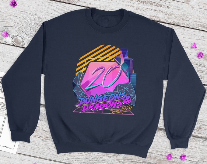 Retro D20 sweatshirt   Retro   Dnd gift   Dungeons and Dragons present   rpg   dice   d20