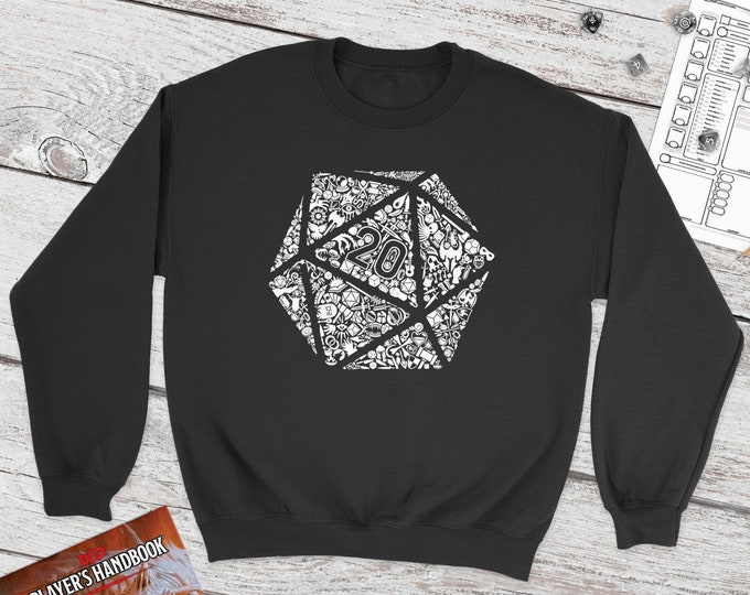 Mosaic D20 Sweatshirt   DnD   Dungeons and Dragons   DM Gift   Cute Polydice