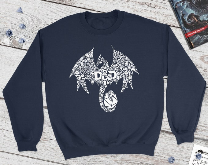 Mosaic Dragon Dnd Sweatshirt | DnD | Dungeons and Dragons | DM Gift | Gift for geeks