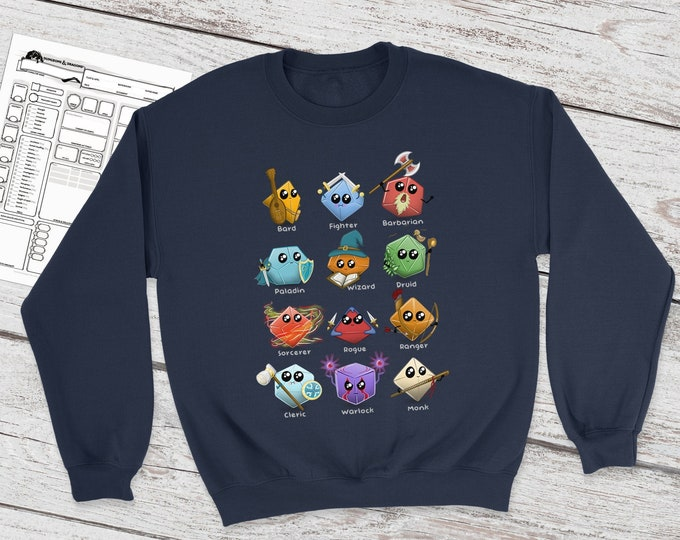 Kawaii Dice Sweatshirt | DnD | Dungeons and Dragons | DM Gift | Cute Polydice