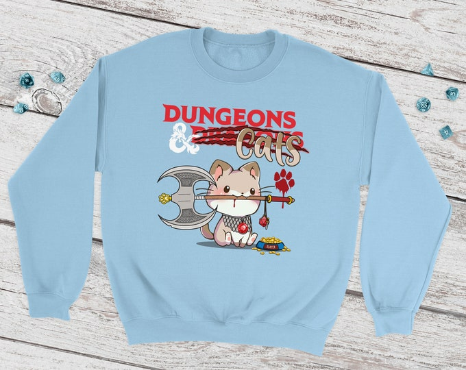 Dungeons & Cats Sweatshirt | DnD |Dungeons and Dragons | DM Gift | Gift for geeks