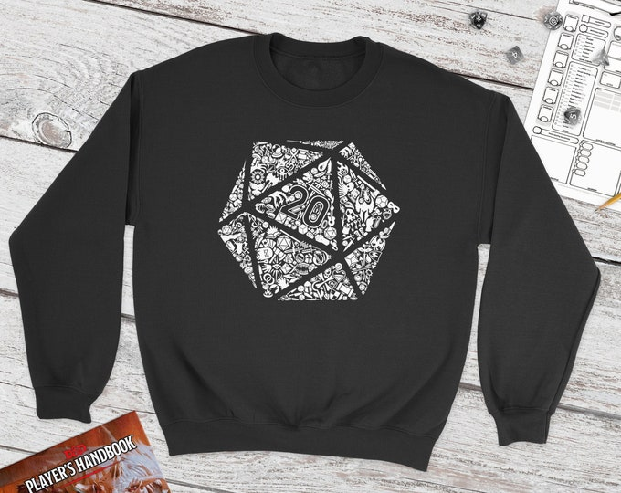Mosaic D20 Sweatshirt | DnD | Dungeons and Dragons | DM Gift | Cute Polydice