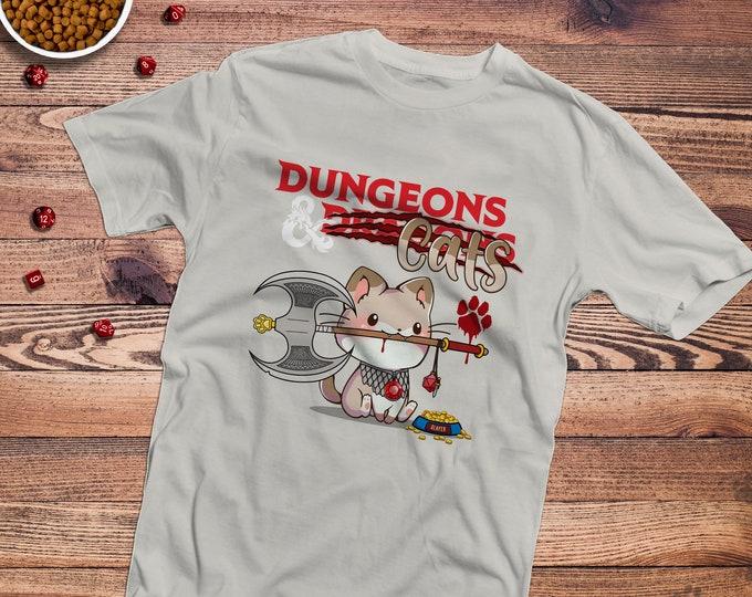 Dungeons & Cats Shirt | DnD | Gifts for geeks | Dungeon master (dm) gifts | Geeky dnd shirt