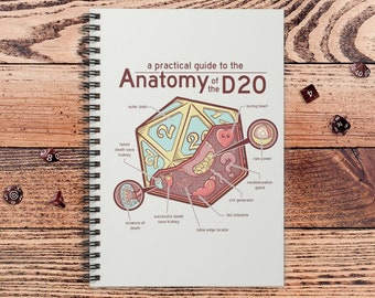 Anatomy of the D20 DnD Notebook Spiral | Gift for DnD players | Dungeons and Dragons | DM Gift | Book | Notepad