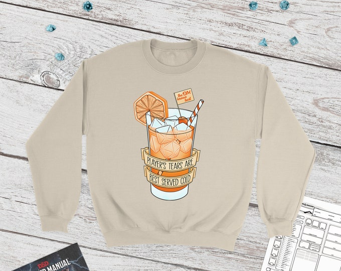 Ice cold player's tears sweatshirt | DM gift | DnD gift | Dice | Critical failure | Dungeons & Dragons