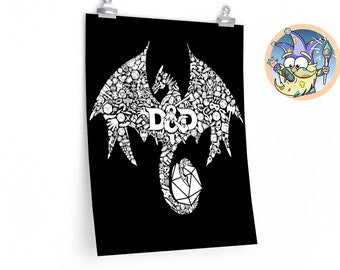 Mosaic Dragon poster | Drake | Dnd gift | Dungeons and Dragons present | rpg | dice | d20