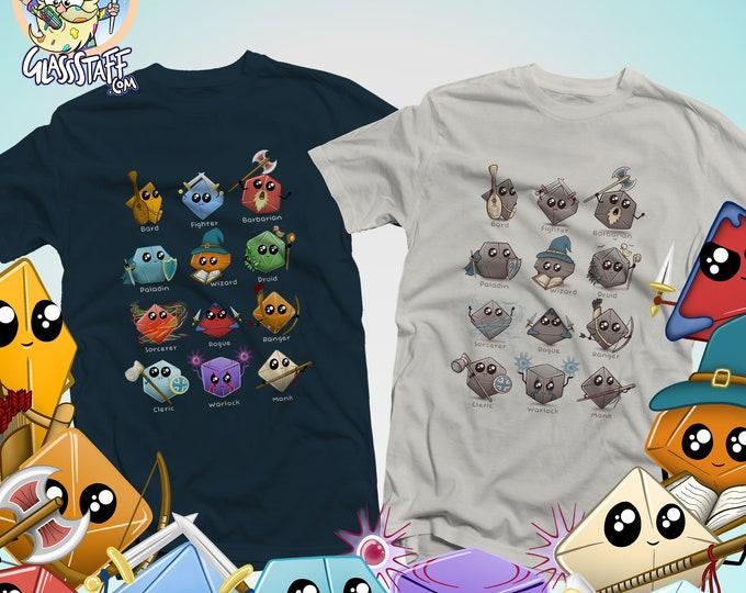 Cute Dice Classes Shirt | Kawaii DnD shirts | Cute gifts for dnd | Dungeon master (dm) gifts | Geeky dnd shirt