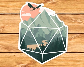 A D20 Scene sticker |  | Dnd gift | GM | Dungeons & Dragons | Dice | Natural 20