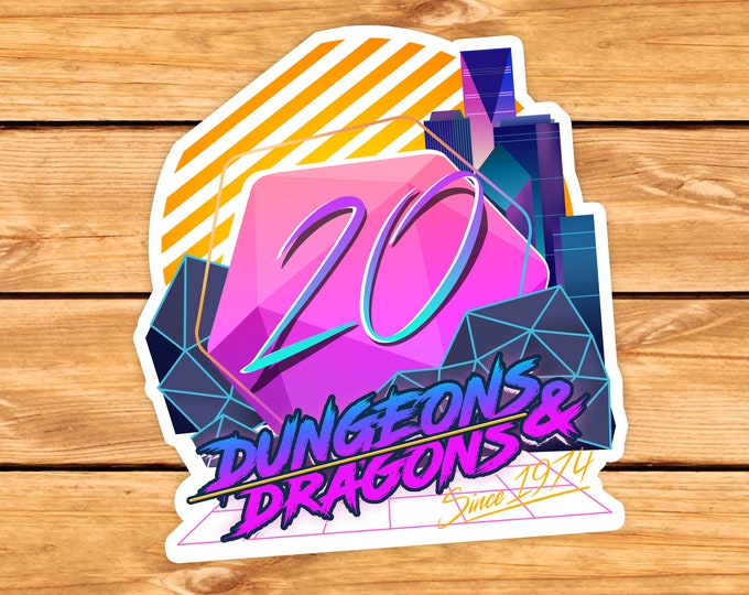 Retro D20 sticker   Retro   Dnd gift   GM   Dungeons & Dragons   Dice   Natural 20