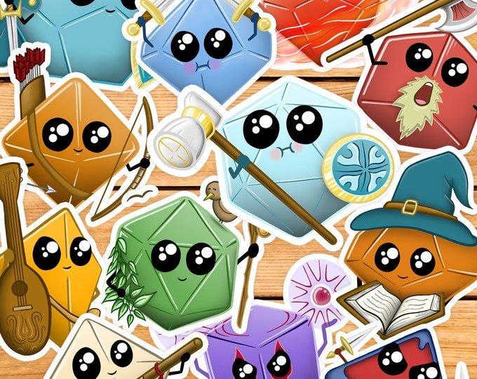 Cute Dice Sticker Packs | Cute dnd gift | Kawaii gift for dm | Dungeons & Dragons | classes