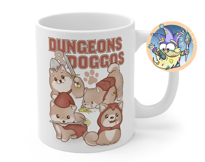 Dungeons and Doggos Mug | Dnd gift | GM | Dungeons & Dragons | Dice | DM gift