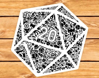 Mosaic D20 DnD Sticker | Dnd gift | GM | Dungeons & Dragons | Dice | Natural 20
