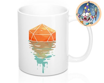 A d20 sunset Mug | Dnd gift | GM | Dungeons & Dragons | Dice | DM gift