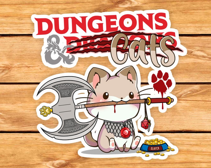 Featured listing image: Dungeons and Cats DnD Sticker | Dnd gift | GM | Dungeons & Dragons | Dice | Natural 20