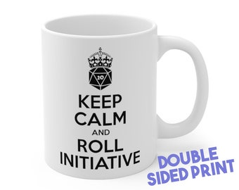 Keep Calm and Roll Initiative Mug | Dnd gift | GM | Dungeons & Dragons | Dice | DM gift