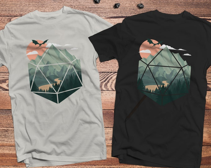 A D20 Scene shirt |  | Dnd gift | Dungeons and Dragons present | rpg | dice | d20