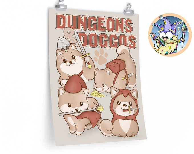 Dungeons & Doggos DnD poster | Dungeons and Dragons  | Gifts for geeks | Dungeon master (dm) gifts | Geeky dnd shirt
