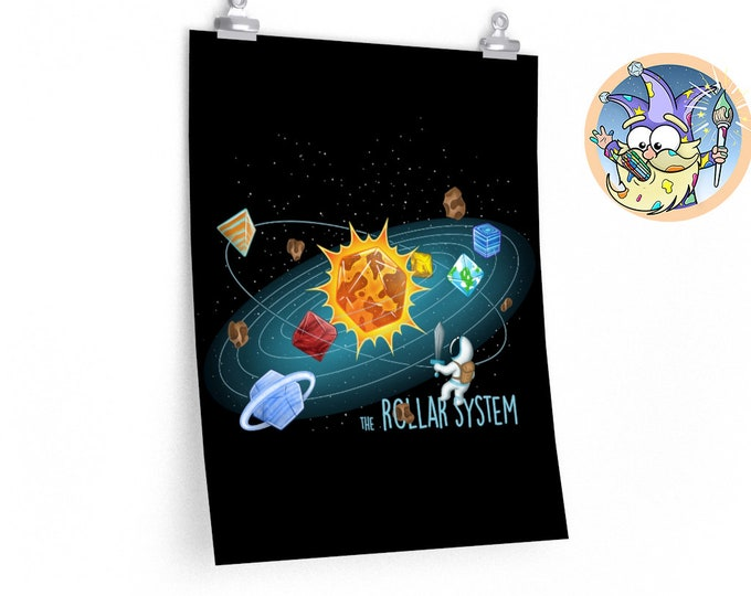 Rollar System poster | Space | Dungeons and Dragons | DM Gift | Gift for geeks | DnD | Dice